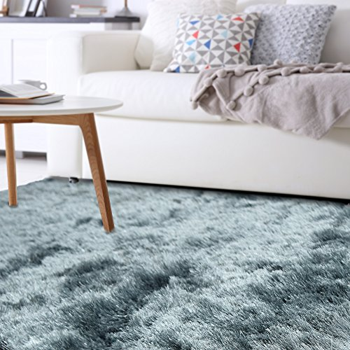 iCustomRug Olivia Shiny Soft Shag Rug 4ft0in x 6ft0in (4' x 6') In Teal Blue
