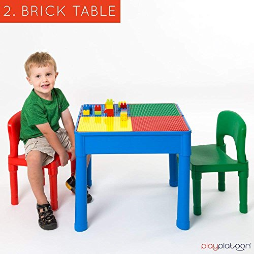 Play Platoon Kids Activity Table Set - 3 in 1 Water Table, Craft Table Building Brick Table Storage - Includes 2 Chairs 25 Jumbo Bricks - Primary Colors by Play Platoon (Image #3)