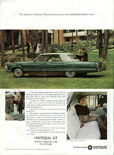 What a luxury car was always meant to be Imperial LeBaron by Chrysler ad 1967 NY