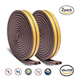 Self-adhesive Weather Stripping Door and Window EPDM Foam Rubber Sealing Strip Peel & Stick Draught Excluder Soundproofing Collision Avoidance Rubber Weather Stripping for Cracks and Gaps Pack of 2
