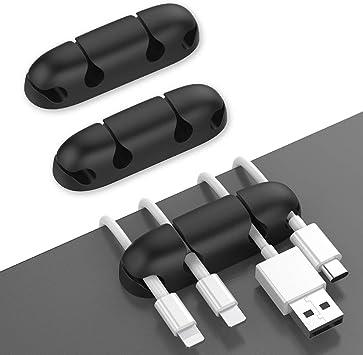 cable USB cable de alimentaci/ón color blanco para cargador PZOZ Juego de 3 clips para cables de carga para escritorio