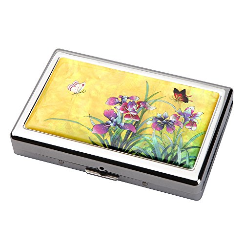 Mother of Pearl Yellow Orchid Flower Extra Long 100S Super Slim King Size 16 Cigarette Engraved Metal Steel RFID Blocking Protection Credit Business Card US Bill Currency Cash Holder Case Storage Box