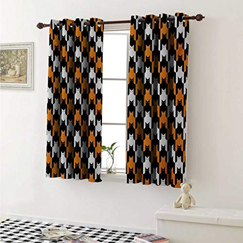 shenglv Halloween Drapes for Living Room Digital Style Catstooth Pattern Pixel Spooky Harvest Fashion Illustration Curtains Kitchen Window W96 x L72 Inch Orange Black White -