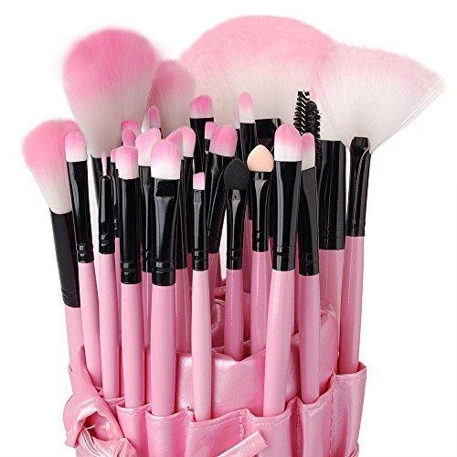 Eleacc® 32tlg Make UP Pinsel Pinselset Schminkpinsel Kosmetikpinsel Kosmetik Brush Kunstleder Etui Pink