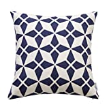 : SLOW COW Cotton Embroidery Cushion Cover, Geometric Navy Blue Decorative Throw Pillow Cover for Living Room, 18x18 Inches.