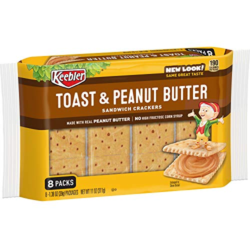 Keebler Toast and Peanut Butter Sandwich Crackers, Single Serve, 1.38 oz Packages(8 Count)