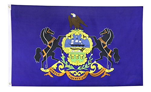 Shop72 US Pennsylvania State Flags - Pennsylvania Flag - 3x5' Flag From Sturdy 100D Polyester - Canvas Header Brass Grommets Double Stitched From Wind