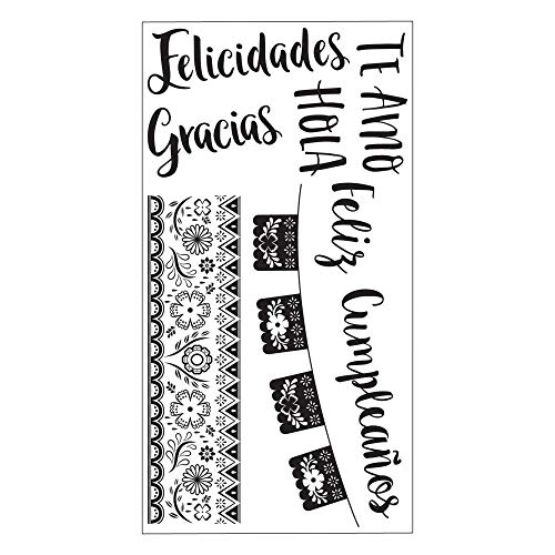 Sizzix 663664 Spanish Phrases by Jordan Corderao Stamps, Multicolour