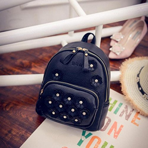 Rucksack 2016 Backpack Black Flower Backpack School New Mini Print Handbag Travel Women's SHnwrS87x4