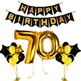 Happy 70th Birthday Decorations Old Party Supplies Black and Gold Centerpieces for Wedding Anniversary Decor Items, Fabulous Theme Cake Topper and Photo Booth