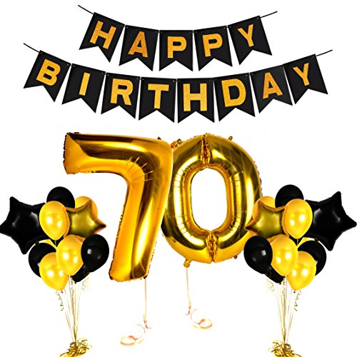 Happy 70th Birthday Decorations Old Party Supplies Black Gold Centerpieces for Wedding Anniversary Decor Items Fabulous Theme Cake Topper Photo Booth Backdrop ()