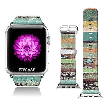 Amazon.com: Apple Watch Band 1.654 in 100% cuero + acero ...