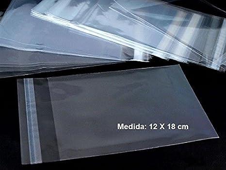 100 bolsas de 12 x 18 cm de celofán con solapa adhesiva ...