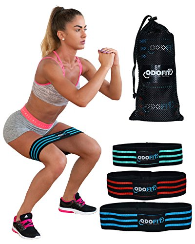 ODOFIT NEW Booty Resistance Workout Hip Bands for Legs and Butt-Anti-Slipping Loop Circle- Glute Band for Warm-Up and Squat –Set of 3-Activate Quads & Thighs Cloth,Thick, Wide Fabric, Women & Men by ODOFIT