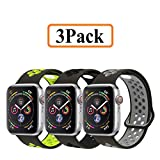 YC YANCH Greatou Compatible for Apple Watch Band 42mm 44mm,Soft Silicone Sport Band Replacement Wrist Strap Compatible for iWatch Apple Watch Series 4/3/2/1,Nike+,Sport,Edition,M/L,3 Pack