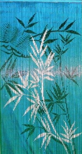 Hand Painted Bamboo Curtains (Bamboo 54 5279 Blue Bamboo Scene Curtain)