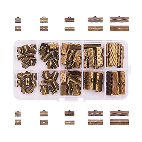 (Younar 100 Pcs 5 Sizes Iron Ribbon Bracelet Bookmark Pinch Crimp Clamp End Findings Cord Ends Fasteners Clasp Leather Crimp Ends 8-25mm Jewelry Making Findings)