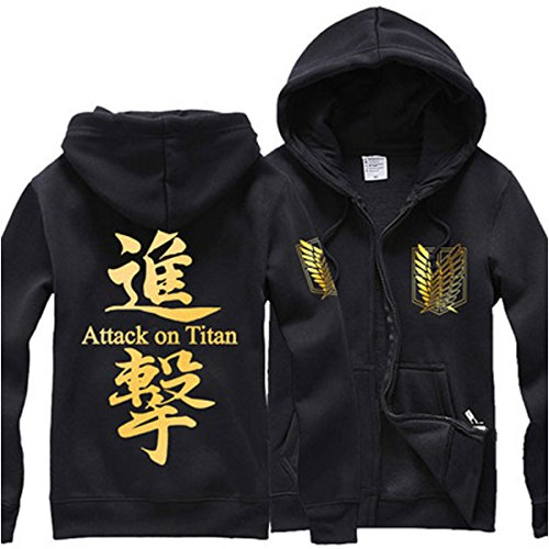 ELEFINE Pulle-A Anime Attack On Titan Shingeki No Kyojin Survey Corps Eren Halloween Cosplay Hoodie Blouse Survey Corps Adult Zip Hoodie Long Sleeve Sweater Jacket Costume Coats BlackGold/Z M