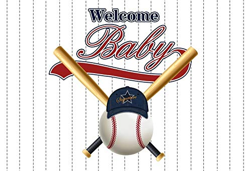 AOFOTO 6x4ft Welcome Baby White Dotted Lines Background for Photography Baseball Bat Hat Ball Baby Boy Shower Background Little Man Gender Reveal Party Decor Photo Studio Props Vinyl -