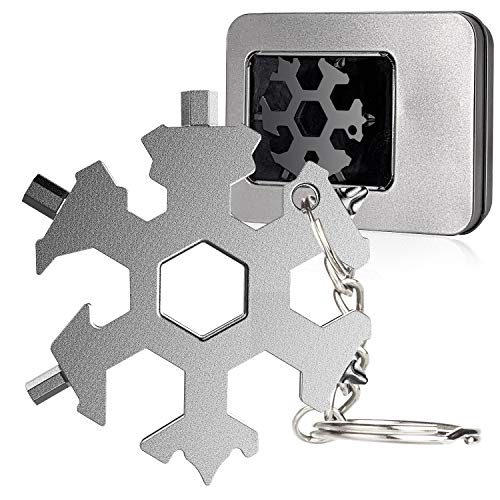 Fronnor Snowflake Multi Tool 19-in-1 Stainless Steel EDC Multitool Keychain Bottle Opener Screwdriver Wrench Portable Outdoor Travel Camping Multi Function Pocket MultiTool Gadgets for Men DIY