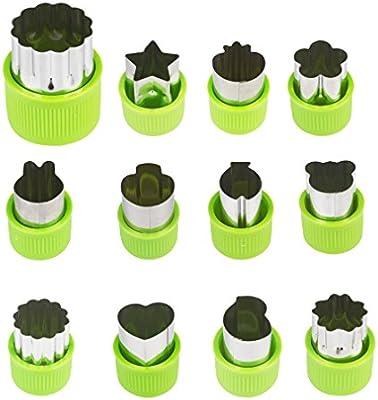 aprince verduras moldes formas Set, 12 piezas acero inoxidable para animales flores Mini forma de estrella cortador de galletas, cortador de verduras y ...
