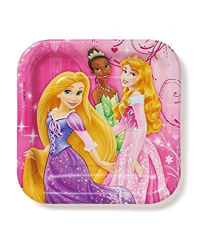 Disney Princess Sparkle Dessert Paper Plates Birthday Party Disposable Tableware and Dishware (8 Pack), Pink, 7