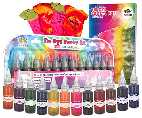 Doodlehog Easy Tie Dye Party Kit for Kids, Adults, and Groups. Create Vibrant Designs with Non-Toxic Dye. 12 Colors Included. Beginner-Friendly. Just Add Water. Dye up to 10 Medium Kids T-Shirts