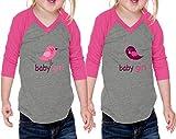 Baby Girl Little Bird Chick Jersey V Neck 3/4 Sleeve Twin Set Gray Hot Pink 18 Months