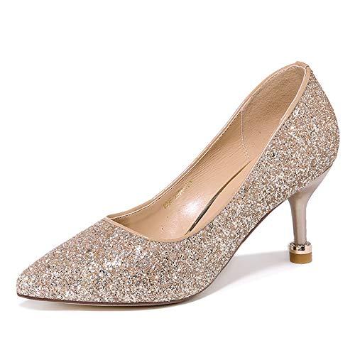 PINGXIANNV Hochhackige Frauen Fein Mit Flachem Mund Einzelne Schuhe Weibliche Stiletto Wies Damenschuhe B07K671D3M Tanzschuhe Guter weltweiter Ruf