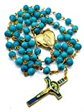 Nazareth Store Saint Benedict Rosary Necklace Turquoise Beads San Benito Gold Enamel Cross & Holy Mary Heart Locket Centerpiece Medal in Velvet Bag | St Benedictus Protection Medallion