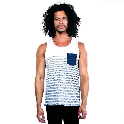 Calvin Klein Jeans Men's Denim Pocket Stripe Tank Top, White, - Top Men Designer
