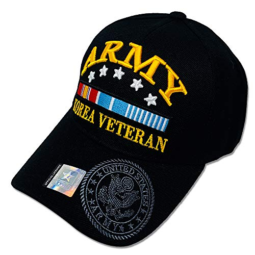 GREAT CAP Acrylic Military Hat - US Warriors Official Licensed Army Hat 3D Embroidered with Size Adjustable Hoop and Loop Closure for Men and Women - Korea Veteran - 5 Stars - Black