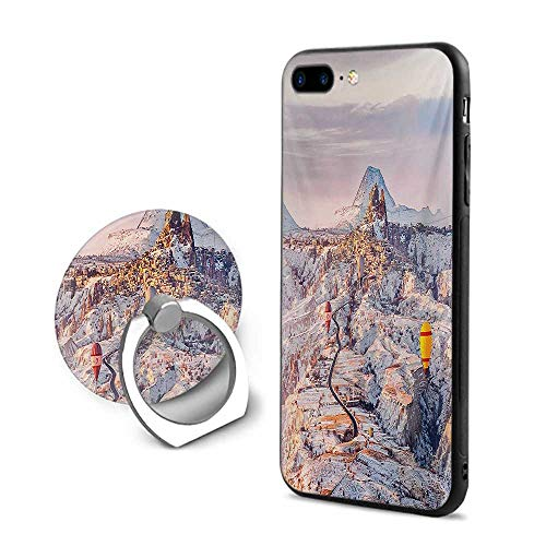(Winter iPhone 7 Plus/iPhone 8 Plus Cases,Cappadocia Turkey Landscape with Hot Air Balloons Anatolia Valley Geology Tourism Multicolor,Design Mobile Phone Shell Ring Bracket)