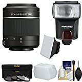 Sony Alpha A-Mount 55-200mm f/4-5.6 DT SAM Zoom Lens with Flash + 3 Filters + Diffusers + Kit for A37, A58, A65, A68, A77 II, A99 Cameras