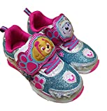 Paw Patrol Girls Light Up Sneaker Shoes with Skye and Everest (9) Pink Blue