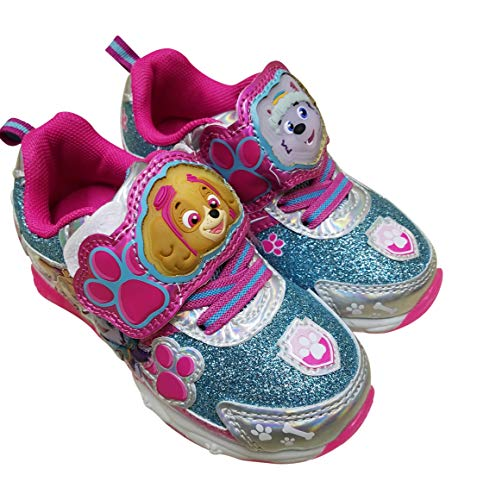 Sneaker Patrol Shoes - Paw Patrol Girls Light Up Sneaker Shoes with Skye and Everest (9) Pink Blue