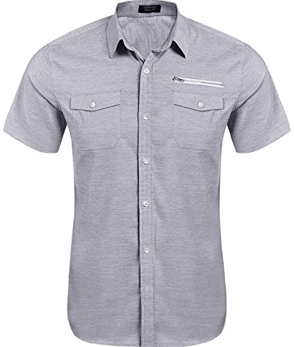 Coofandy Men's Casual Short-Sleeve Pocket Button Down Oxford Dress Shirt, Grey, Large