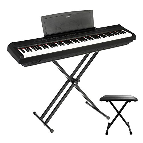 Yamaha P115B 88-Key with world-famous CFIIIS concert grand piano, the clear and melodic sound, Stereo Sound System,Graded Hammer Action Standard Keyboard Digital Piano Black with Yamaha Bench & Stand
