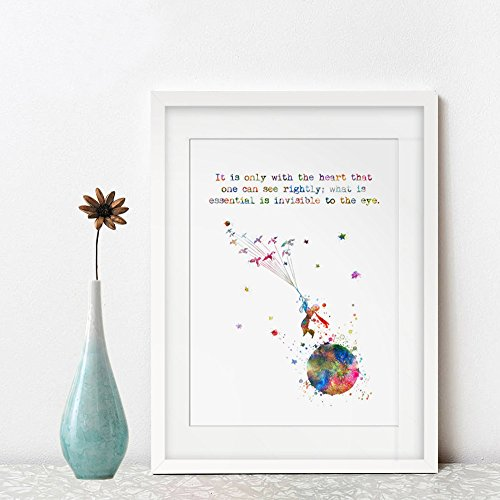 It is only with the heart that one can see rightly what is essential is invisible to the eye Quotes The little Prince Art Print Nursery Decor No Frame AP138