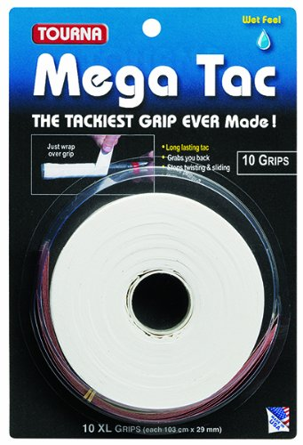 Tourna Mega Tac Tennis Racket Grip, White, 10-Pack