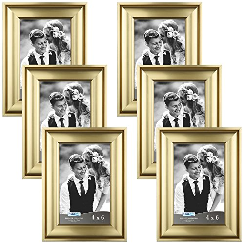 Icona Bay 4x6 Picture Frame (6 Pack, Gold), Gold Photo Frame 4 x 6, Wall Mount or Table Top, Set of 6 Elegante Collection