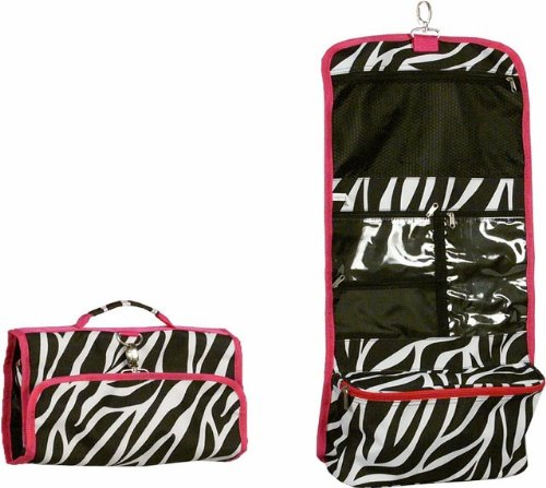 Hot Pink Trim Zebra Hanging Cosmetic Bag * the Greatest Bag for Travel! *