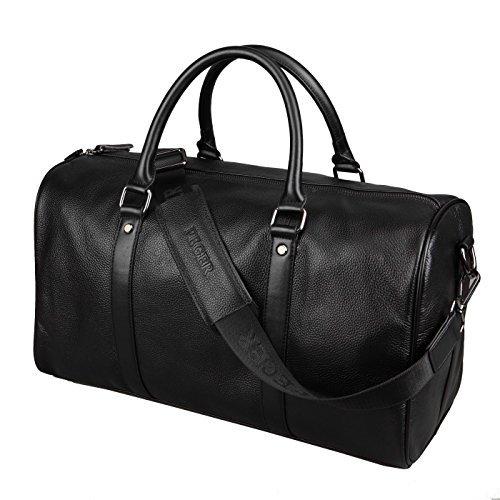 BAIGIO Damen Herren Retro Leder Reisetasche Weekender Sporttasche Schultertasche Reisegepäck Freizeittasche Groß Handgepäck sehr Praktisch Echtes Leder schultertasche Tasche,Schwarz