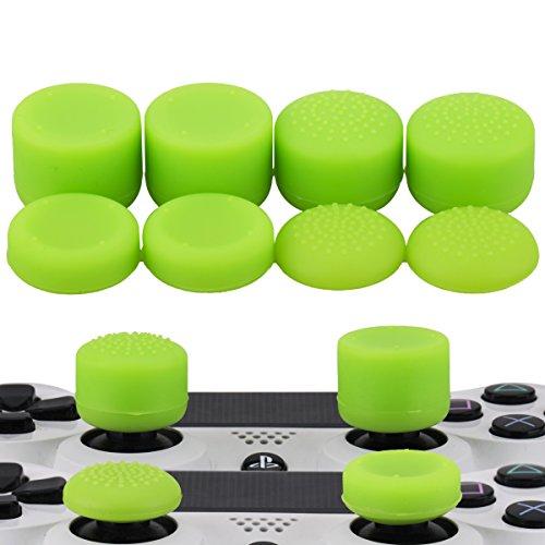 (MXRC Thumb Grip Thumbstick Joystick Cap 4 Styles All 8 Units FPS Professional Sets Pack for PS2, PS3, PS4, Xbox 360,Controller Green )