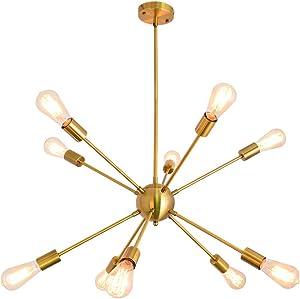 KOSTOMO Sputnik Chandeliers 10 Lights Brushed Brass Ceiling Light Modern Pendant Lighting Gold Industrial Vintage Fixture Dining Kitchen Island Bedroom Lighting (10 Lights-Brass)