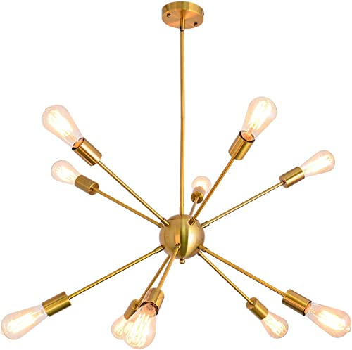 KOSTOMO Sputnik Chandeliers 10 Lights Brushed Brass Ceiling Light Modern Pendant Lighting Gold Industrial Vintage Fixture Dining Kitchen Island Bedroom Lighting 10 Lights-Brass