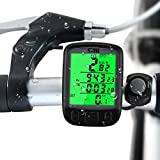 ALLOMN Wireless Bike Computer Waterproof Cycling Bicycle Odometer Speedometer With Green Backlight LCD Screen