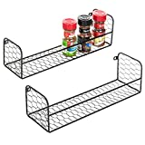 MyGift Set of 2 Wall-Mounted Rustic Chicken Wire Spice Racks
