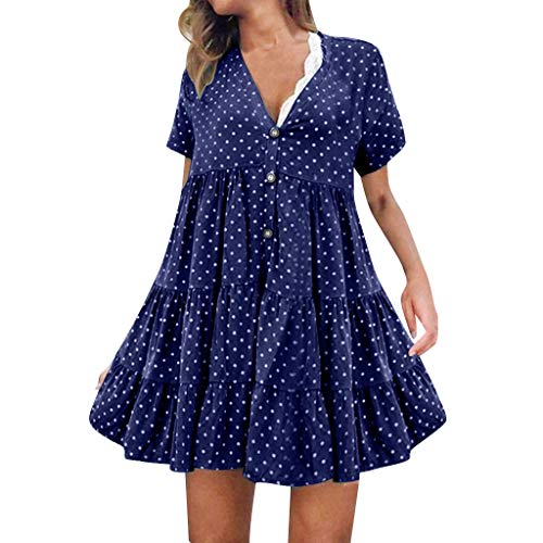 Women's Summer Mini Dress V-Neck Vintage Polka Dot Casual Short Dress Loose Sleeveless Ruffle Party Club A-Line Dresses Navy C&c California Long Sleeve V-neck Shirt
