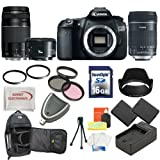 Canon EOS 60D DSLR Camera with 3 Canon Lens Pro Pack: Includes – Canon EF-S 18-135mm f/3.5-5.6 IS Lens – Canon Zoom Telephoto EF 75-300mm III – Canon EF 50mm f1.8 II Autofocus Lens, Also Includes Deleuxe Backpack, 2 Extra Batteries and Travel Charger, 16GB SDHC Card and Card Reader, 3 Piece Pro Filter Kit with 2 Extra UV Filters and much more…, Best Gadgets